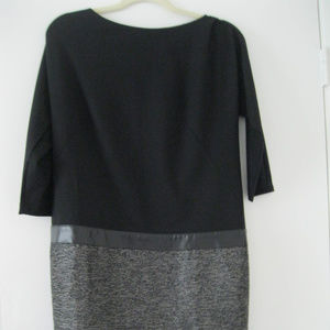 Ann Taylor Leather Trimmed Black & Tweed Dress